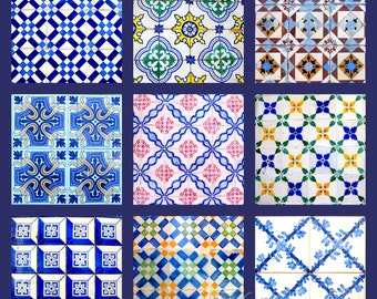 Lisbon Colorful Tile Collage Photo Print Lisboa, Portugal Alfama Navy Blue. Yellow. Red. Travel Photography. Various Sizes Available.