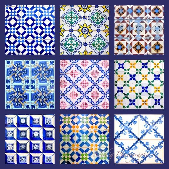 Lissabon bunten Fliesen Collage Foto Drucken Lisboa