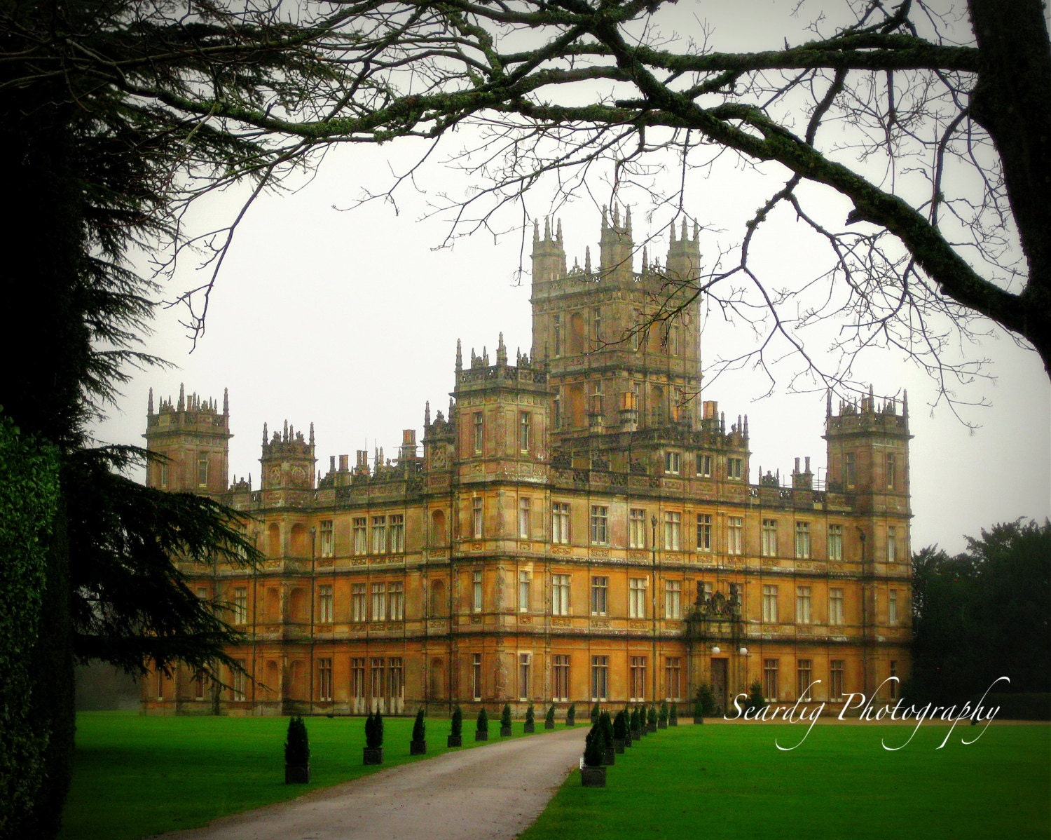 Downton abbey photo print highclere castle travel - Downton abbey chateau ...
