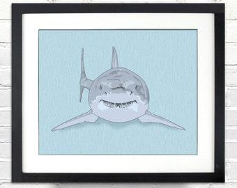 Shark Illustration Poster - Great for a Child's Bedroom