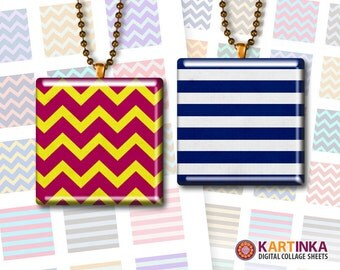 CHEVRONS and STRIPES - 1x1 inch and 1.5x1.5 inch tiles Printable Jewelry Supplies Instant Download for Pendants, Magnets, Crafts