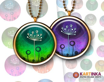 COLORFUL DANDELIONS 1 inch, 1.25 inch and 1.5 inch circles Digital Collage Sheet Printable Download for pendants magnets