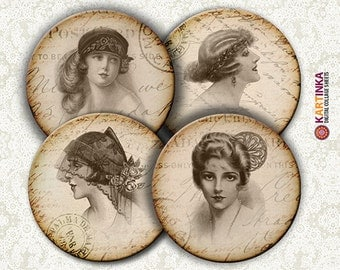 VINTAGE ELEGANCE - 4 inch Circles Digital Collage Sheet Printable for Coasters Magnets Greeting Cards