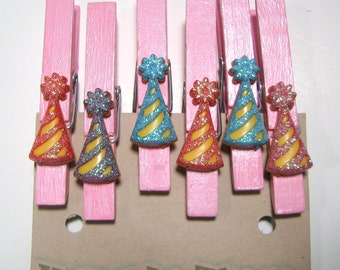 Six Party Hats on pastel pink hand painted clothespins, clips, pegs,