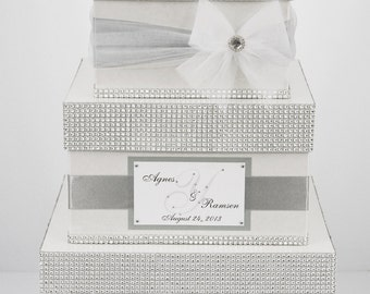 Wedding Card box / Card holder / Wedding money box - 3 tier - Personalized - silver