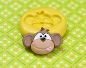 Silly Monkey Face w/ Tongue Out Flexible Silicone Polymer Clay Soap Chocolate Fondant Push Mold - Food Grade 28x19mm