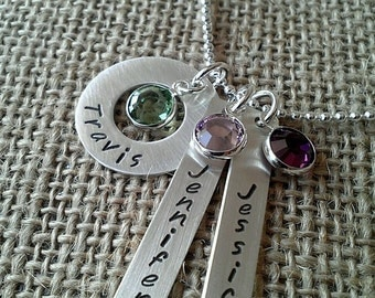 Grandma Necklace - Mother Necklace -  Mom Necklace with Swarovski Crystal Channel Charms