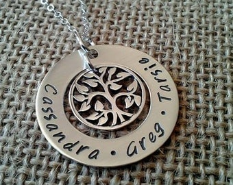 Mother Necklace, Grandma Necklace, Family Name Necklace, Kids Names Necklace, Tree of Life, Stamped Evermore
