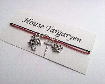 Game of Thrones themed, House Targaryen, Friendship bracelet on waxed cotton cord