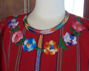 Vintage 60s Mexican Embroidered Top Frieda Kahlo Style