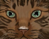Title: Eyes of Love (maine coon ) signed by artist 13x19 cat breed print