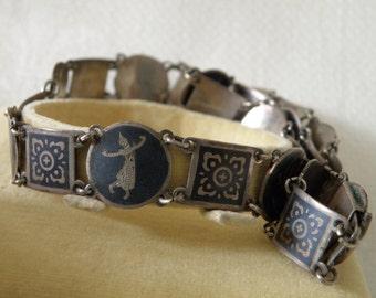 Vintage Sterling Silver Niello Siam Necklace