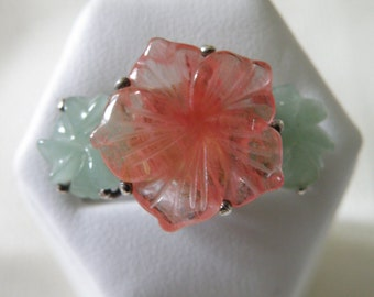 Exotic Carved Jade Flowers Sterling Silver Ring - Size 6 3/4 U.S.