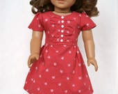 1950s WWII Swing Era American Girl 18 Inch Doll Dress - Red Floral