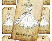 INSTANT DOWNLOAD Digital Collage handrawn save the date wedding dress  invitation tag No. Vt0050