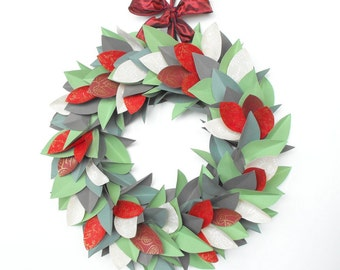 ON SALE!-Reduced 20%-Christmas Wreath-Holiday Wreath-Winter Wreath-Modern Wreath-Paper Wreath-Christmas Decor-Holiday Decor