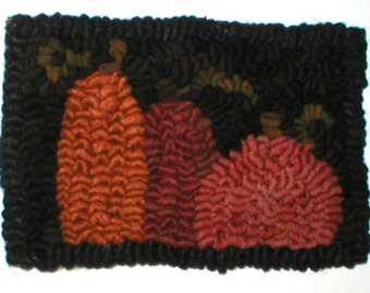 PrimiTive Folkart 3 Mini Hooked Rug Pumpkins PATTERN  Beaconhillcollect Hooked Rugs