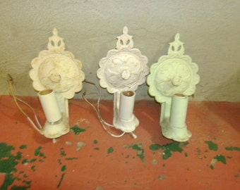 MiD CenTurY ShaBBy CHiC CasT IroN Bottom PuLL SwiTcHeD WaLL ScoNeS