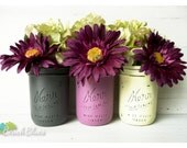 Grey, Raspberry, and Chartruese - Home Decor - Painted and Distressed Mason Jars - Vase
