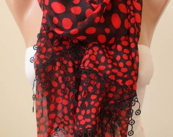 Red and Black Dalmatians Scarf - Silk/Chiffon Scarf with Black Trim Edge