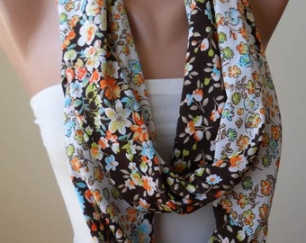 Brown - Orange - White Infinity Scarf - Jersey Fabric