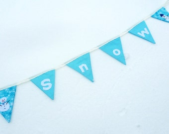winter snow bunting banner, fabric bunting,  appliqued, season table decoration, winter decor, sale
