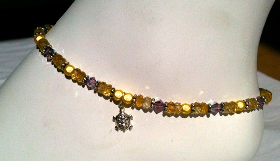 Citrine & Miracle Bead Sterling Silver Ankle Bracelet