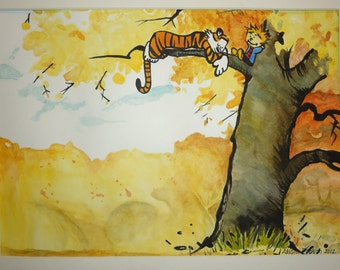 Calvin and Hobbes watercolor painting