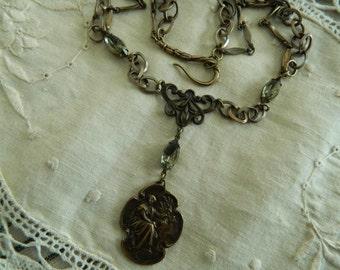 Assemblage Necklace Vintage Medal Pendant Necklace
