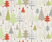 Merry Trees in Taupe from Merry Little Christmas by Zoe Pearn for Riley Blake 1/2 Yard Cut