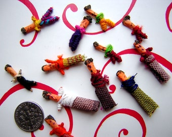A Dozen Tiny Worry Dolls for Crafting