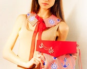 Sea set: red handbag with anchor and chain and the collar with ties