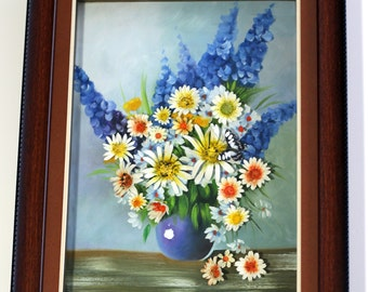 Clay flowers, 3D canvas, Daisies, Butterfly, Unique mixed media 12x16