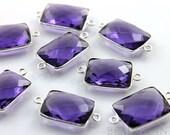 Purple Amethyst, Bezel Chicklet Gemstone Component, 925 Sterling Silver,  14x20mm, 1 Piece, (SSBZC2026)