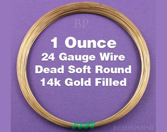 14K Gold Filled, 24 Gauge, Dead Soft Round Wire, Wrapping Wire, 1 Full Ounce (Approx. 56.50 Feet ) GF-W24/DS