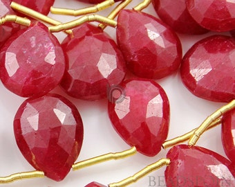Natural Genuine African Ruby AA Quality Gemstone, Rich Faceted Pear Briolettes, 7x8mm, 4 Pieces (4RBY7x8FPEAR)