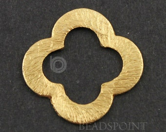 24K Gold Vermeil over Brush Sterling Silver Flat Clover Component, 17mm,1 Piece, Sold INDIVIDUALLY, Buy as many you need,(VM/6578/17)
