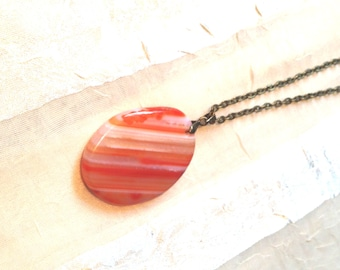 Orange Banded Agate Necklace