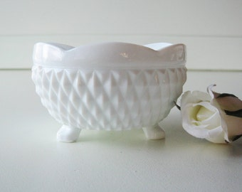 Milk Glass Candy Dish, Candle Holder, Diamond Point