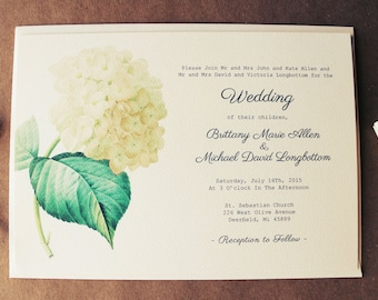 White Hydrangea Wedding Invitation Botanical Wedding Printable DIY OR Ship