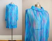 Vintage 1960s Dress Blue Chiffon Silk 60s Dress / Large