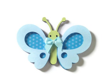 Blue or Pink Butterfly Card , Butterfly Shaped Card , Insect Card , Butterfly