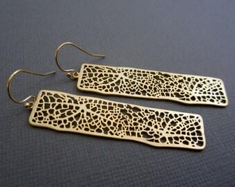 Gold Filigree Earrings, Long Gold earrings, Dangling earrings, jewelry, earrings