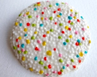 Giant Porcelain Sweetie Brooch with Hundreds and Thousands, Cake Sprinkles, Jazzie Badge