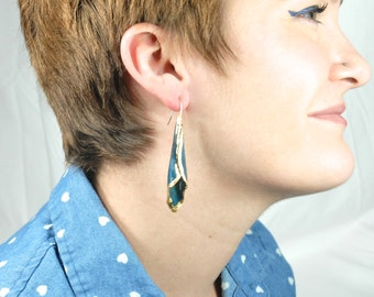 Sapphire Blue Enameled Formed Copper Earrings with Gold Leafed Edges
