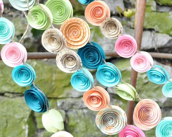 Wedding Garland Paper Flowers Boho, colorful paper flowers 22 feet