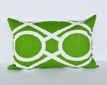 Decorative Pillow 12x18'  lumbar green Accent Pillow 'Bamboo green lattice pattern pillow cover