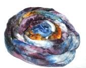 RESERVED  Merino Wool And Mulberry Silk 50/50 Blend Brick Form Super Fine Merino Silk Destash Spinning Felting Fiber 123 gm 4.35 oz