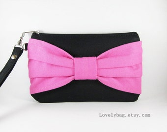 SUPER SALE - Black with Pink Bow Clutch - iPhone 5 Wallet, iPhone Wristlet, Cell Phone Wristlet, Camera Bag, Cosmetic Bag, Zipper Pouch