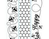 "DARICE-  "" BEE HAPPY ""  BORDeRs  SeT of 3  EMBOSsING FoLDeRS - NeW - BUMBLeBEEs HONeYCOMB"